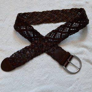 Eddie Bauer Braided Genuine Leather Belt Size S/M